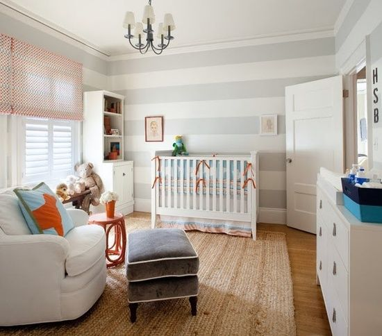 Pretty grey stripes and the Ben bedding by Serena & Lily were a great base for this room. Cute pillow and ottoman too!.