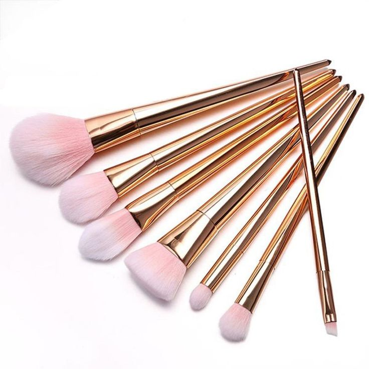 Bessky 7Pcs Professional Powder Cosmetic Makeup Brushes (Rose Gold)