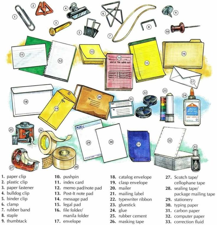 Learn the vocabulary for office supplies. Using pictures you will learn the vocabulary and how to ask questions about office supplies.