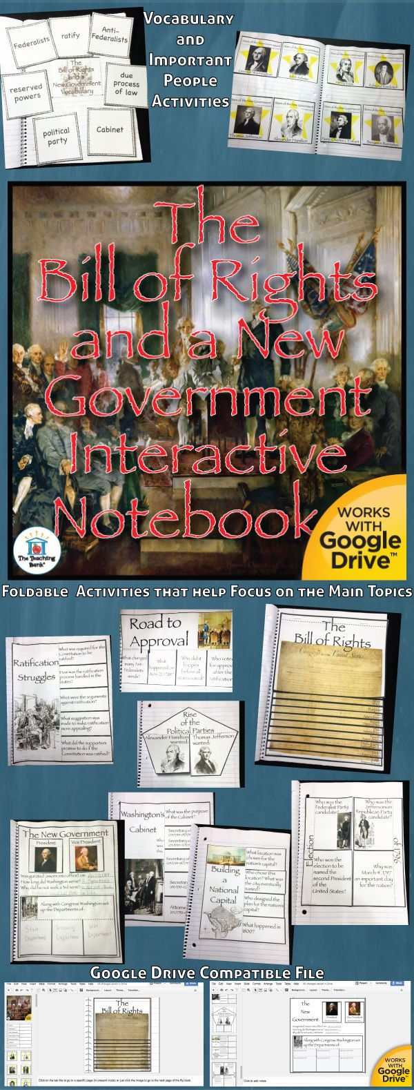 The Bill of Rights and New Government Interactive Notebook, which works for both print and Google Drive™, investigates and helps gain understanding of what the Bill of Rights is and why it was added to the Constitution and also of how the new government of the United States was set up. Geared as a unit in the 5th grade study of United States History.
