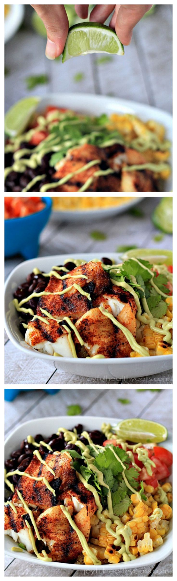 Grilled Tilapia Bowls with Chipotle Avocado Crema, Gluten Free and done in 30 minutes! | www.joyfulhealthyeats.com