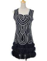 PrettyGuide Women 1920s Beaded Fringe Scalloped Petal Hem Origami Flapper Dress