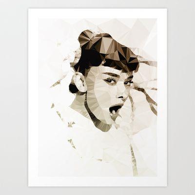 Audrey Hepburn | Polygon Art Art Print by Mirek Kodes