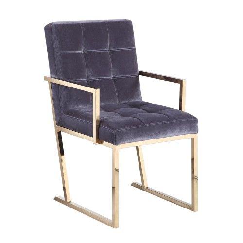 Velvet Dining Chair in Slate