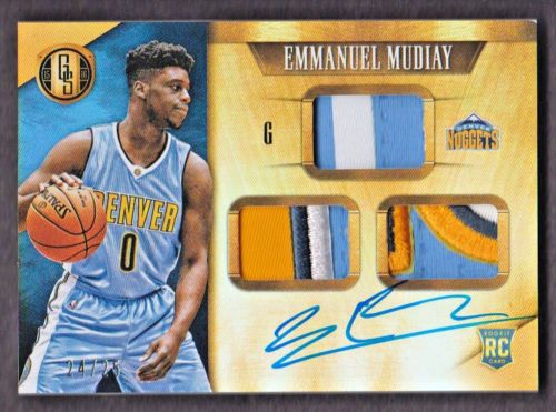 2015-16 Gold Standard #296 Emmanuel Mudiay RC Auto Patch 24/25 Denver Nuggets