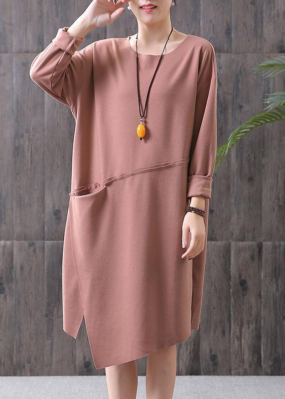 Style cotton quilting clothes Omychic Round Neck Solid Color Spring Cotton Dress