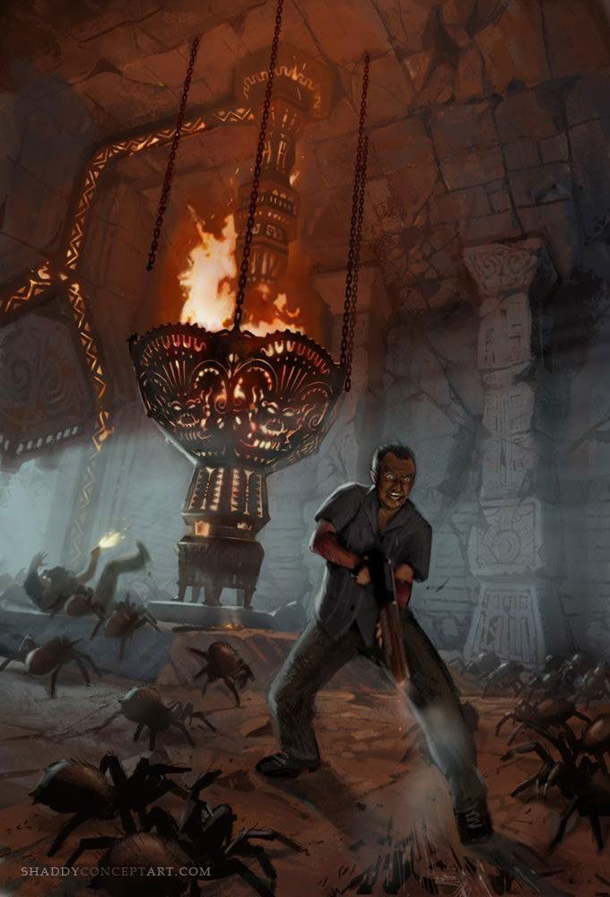 Uncharted Drake's Fortune concept art. Sully looks like he's enjoying himself a little too much