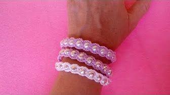 Bracciale con Perle ad Uncinetto Tutorial - #bracciale #uncinetto #tutorial #bracelet #crochet #pattern #perle #pearl #brazalet #croche #patron #perlas #pulsera #ganchillo
