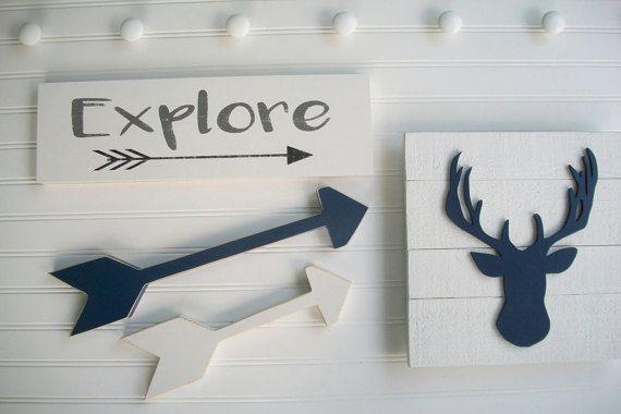 Explore Nursery set. Deer Head . Antler Nursery . by RessieLillian