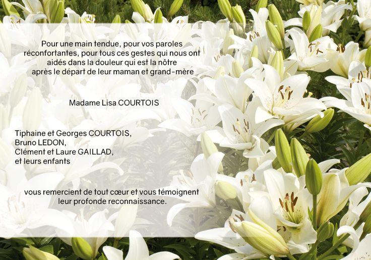 Carte de remerciements deuil - thème fleurs - Océan de lys