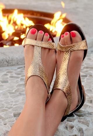SF- love these gold sandals with snakeskin print. Exactly what I'm looking for and the straps are perfect.