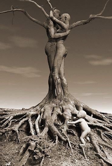 Deep roots, tall branches. Faith of a mustard seed grows a love which encompassed all, the deep dark roots and the bright brave passion. And all are one.