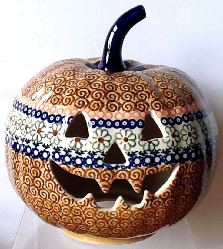 "Polish Pottery 9"" Halloween Pumpkin Jack-o'-lantern Unikat EOS Early October"