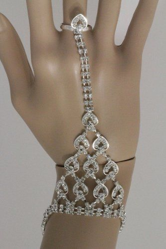 Hand Chain & Ring Combo Heart Crystals Bracelet Silver Body Jewelry Evening Wedding Bridal Fashion