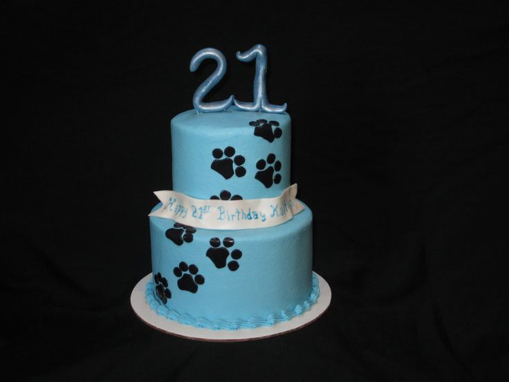 Puppy dog inspired cake for a 21st birthday with paw prints