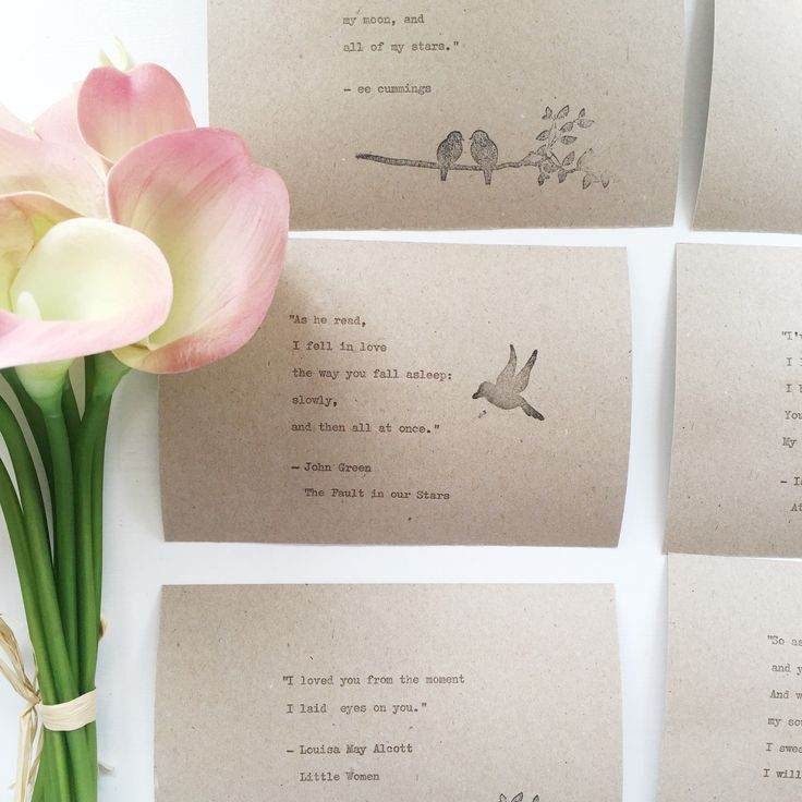 Hand typed bookish love quotes on Kraft postcards, customised for a buyer to display on wedding tables 💕🎉💌