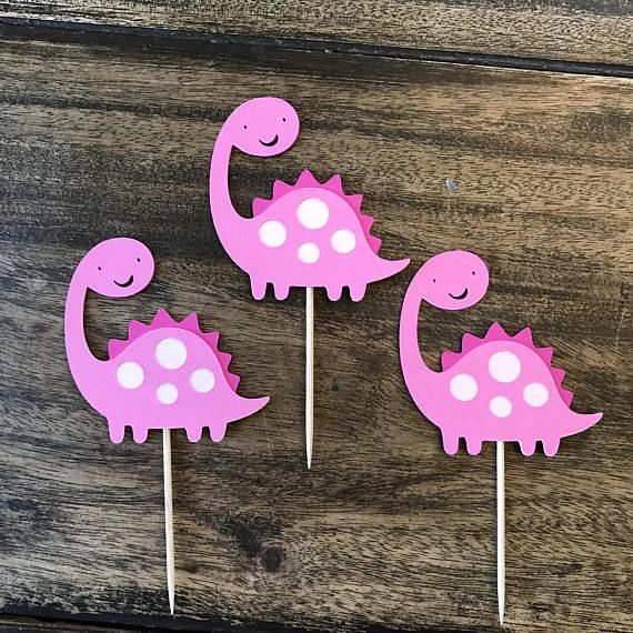 1 Dozen dinosaur cupcake picks. Measure 2 1/2 x 2 1/2 These are available in other colors just message me your request.