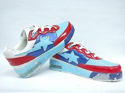 Rough Bape Bapesta Pastel Blue Red 8.5 Fs-001 Sta Footsoldier Beaters  Sneakers 4432ad789