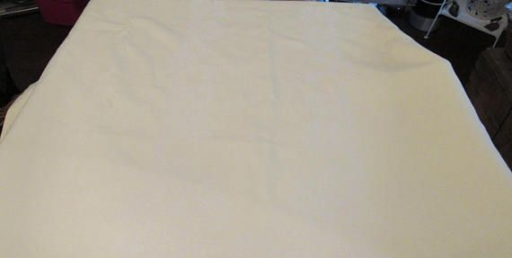Vintage Pale Yellow Linen Oblong Tablecloth 96 x