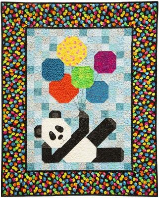 """Panda Patchwork Quilt Pattern: """"Chin Chin"""" is a panda who is a bit of a party animal."""