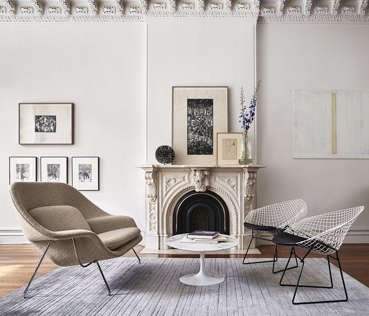 bertoia twotone diamond chairs and womb settee pc knoll modern tablemodern living