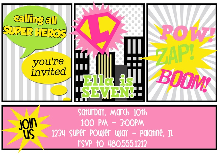 87 best super hero images on Pinterest Baby girl shower, Baby - fresh birthday party invitation designs