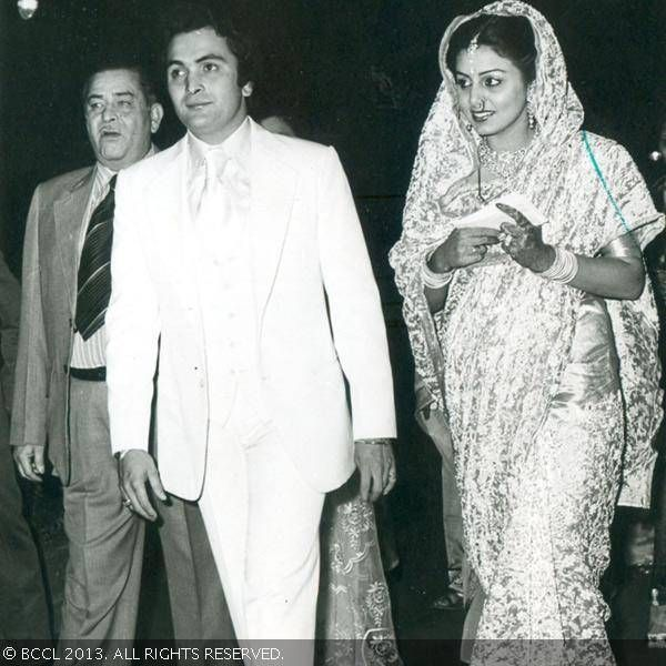 Rishi Kapoor married actress Neetu Singh in 1981. Seen here is Raj Kapoor with his son Rishi  on the day of his marriage.