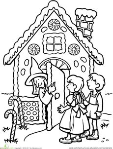 Color the Hansel and Gretel Scene Worksheet
