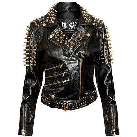 Gold Spike Leather Jacket [B]