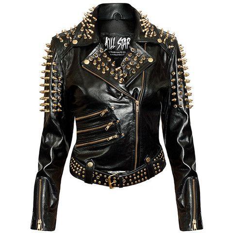 Gold Spike Leather Jacket [B]
