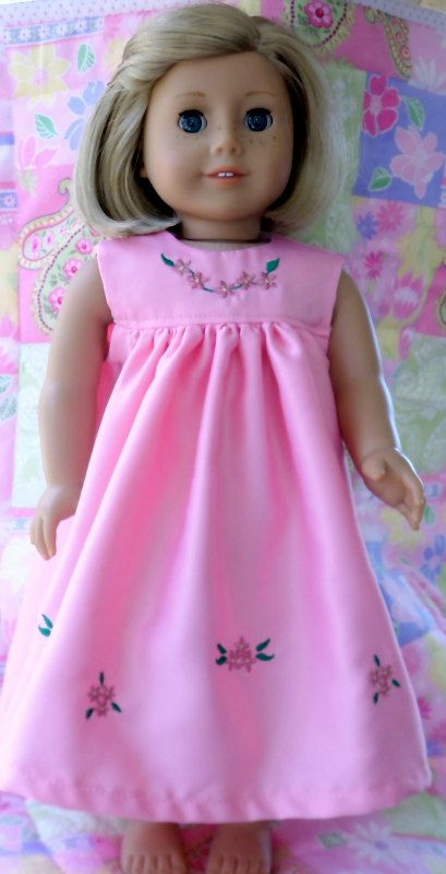 American Girl Doll Clothes Pink Satin Nightgown and Quilt
