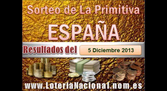 La Primitiva resultados sorteo del Jueves 5 de Diciembre 2013. Fuente: www.loterianacional.nom.es