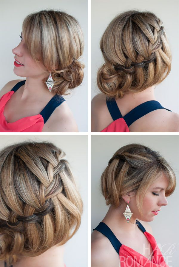 inverted fishtail on fingers | Soft Loose Waterfall Braided Bun – Romantic Updo for Your Big Day