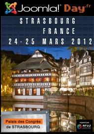 Joomla Day France will be held from March 24 to 25, 2012 from 9 am to 17 pm at the Convention Center in Strasbourg.