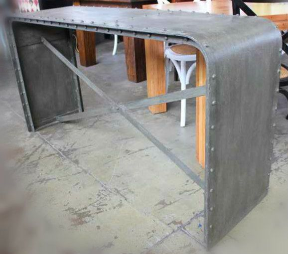 Foundry Industrial Console Table Sideboard Buffet Metal Steel Rustic Rivets