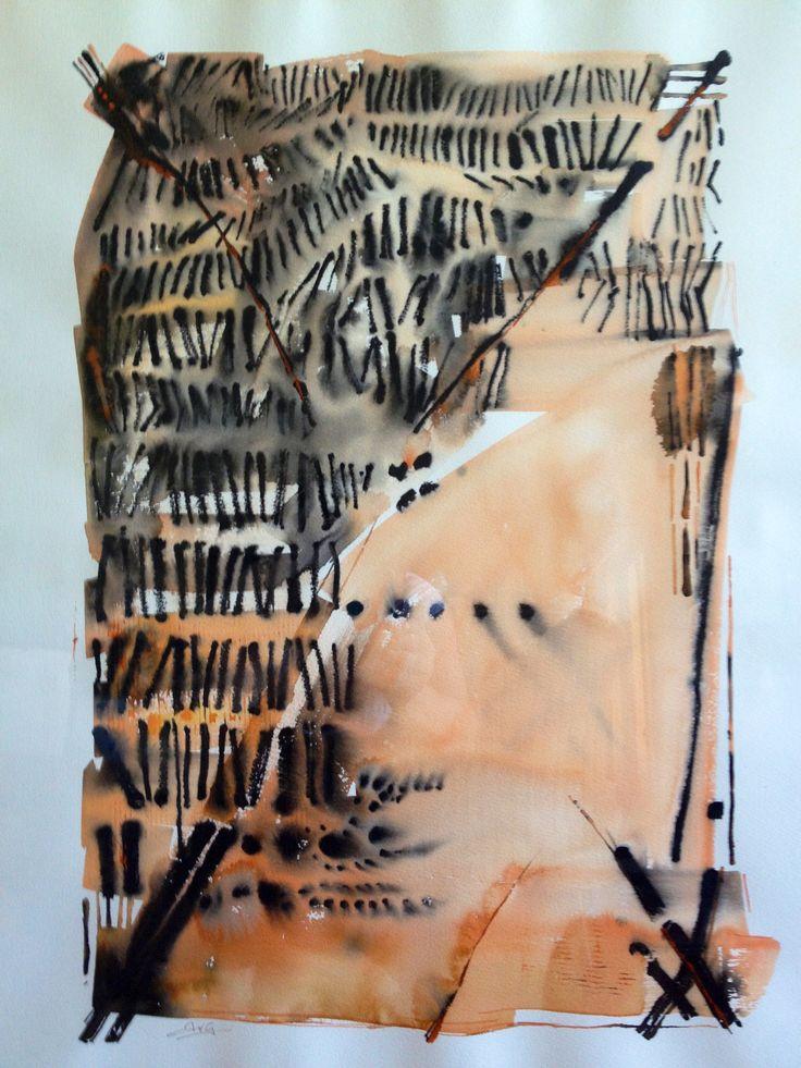 Watercolour, ink, water soluble graphite, terrain, cotton rag paper. by Anita van Grootveld