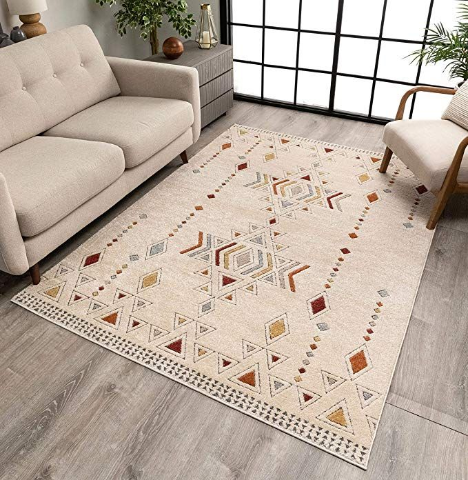 Amazon Com Well Woven Halley Beige Multicolor Tribal Diamond Pattern Area Rug 5x7 5 3 X 7 3 Home Kitchen In 2020 Well Woven Beige Rug Rugs