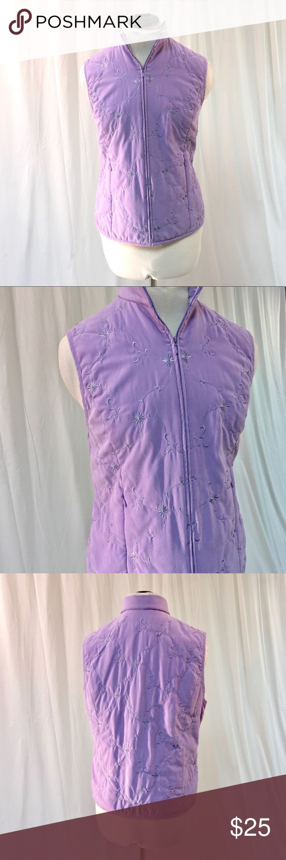 Talbots Embroidered Zip Vest Pretty purple zip up vest from Talbots! Has zippered hand pockets in front. Great condition, women's size medium. Talbots Jackets & Coats Vests