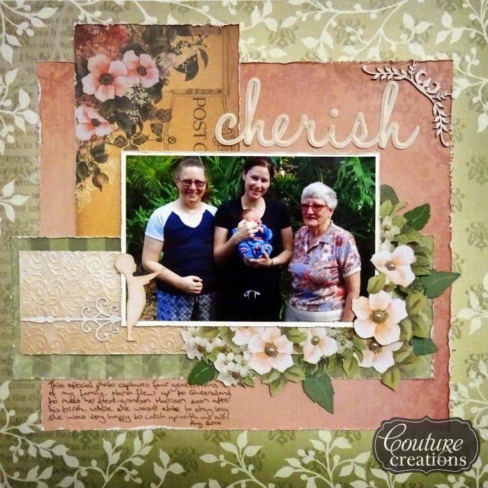 Couture Creations: Cherish by Lauren Tomecek | #couturecreationsaus #scrapbooking #families #vitnagerosegarden #embossingfolders #deocrativedies