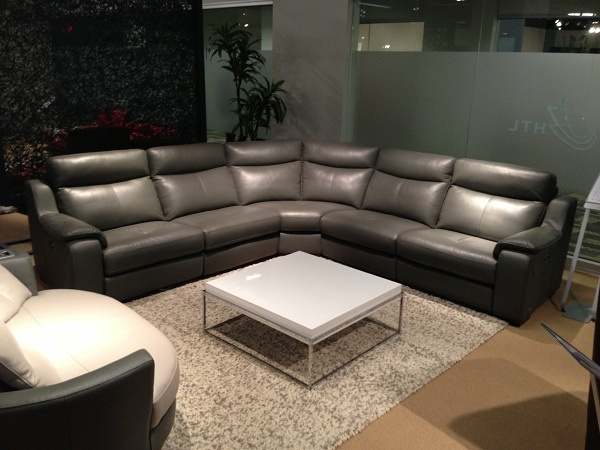 Grey leather sectional by HTL Furniture. // .KeyHomeFurnishings.com in Portland : htl leather sectional - Sectionals, Sofas & Couches