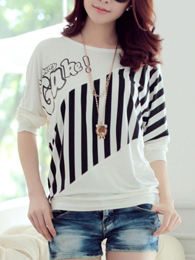 Round Neck Vertical Striped Batwing Long Sleeve T-Shirt