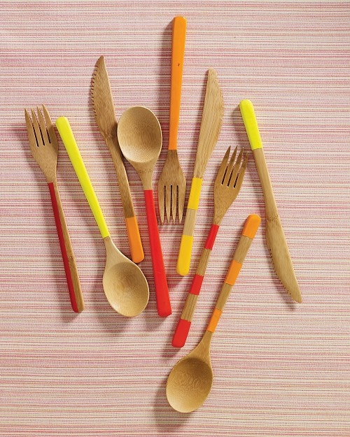 Painted bamboo cutlery.
