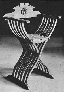 15th century chair from Tirol, Austria. Beech with pine backrest. Backrest with openwork Gothic carving. Height 92 cm, width 59 cm, depth 42 cm. Burg Kreuzenstern, Vienna, Austria. Image from Mobel Europas 1: Romanik - Gotik by Windisch-Graetz