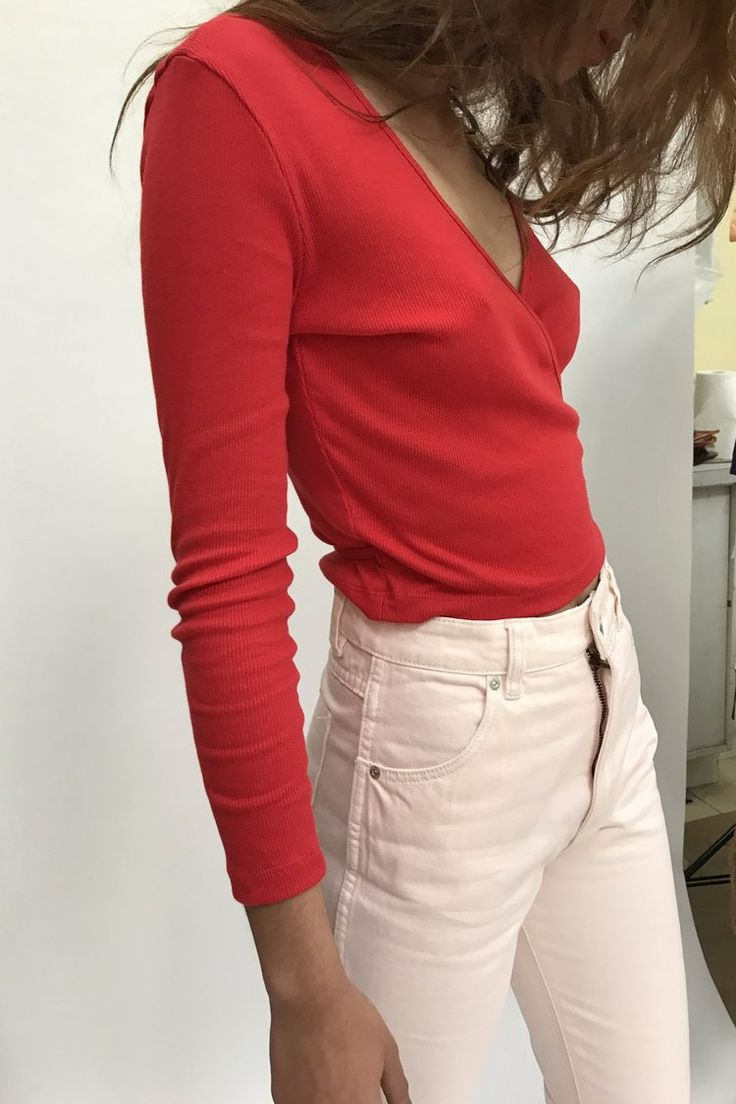 LISA SAYS GAH | Lucille Ribbed Wrap Top - Red