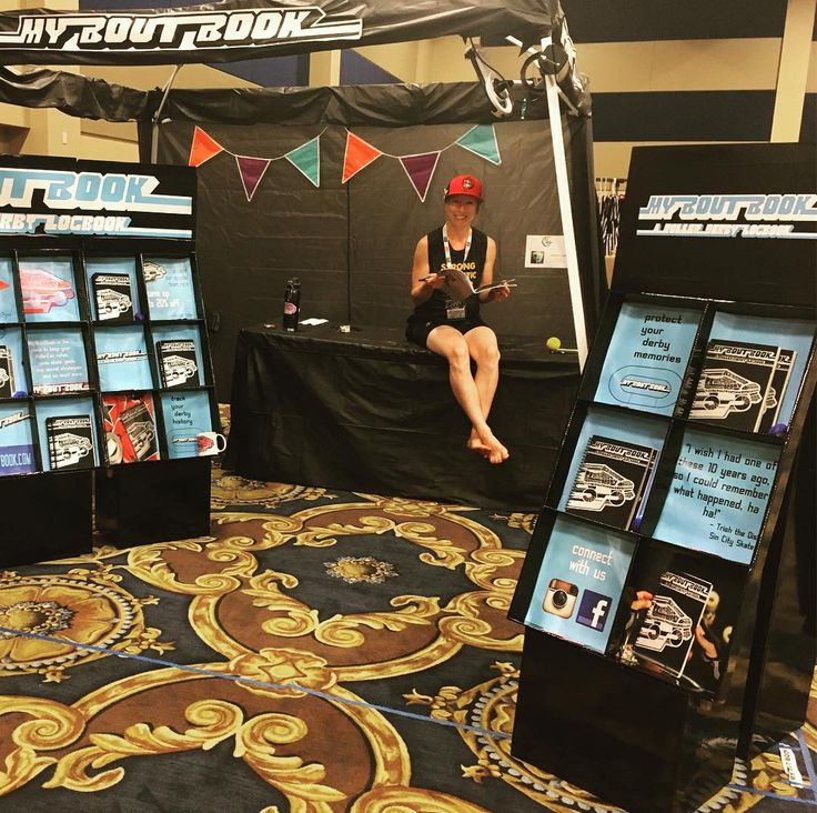 #stabbistabbisharpsharp is holding down the BoutBook both here at RollerCon.  Come on down say hi and enter our contest to win a free BoutBook.