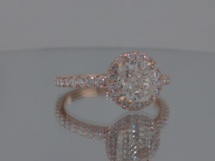 """Josh Levkoff - Collection, Rings - Cushion Cut Diamond set in 14K Rose Gold with Round """"Head"""" with 2 Halos MicroPave on Band"""