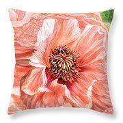 Big Peach Poppy 2 Throw Pillow featuring the art of Carol Cavalaris