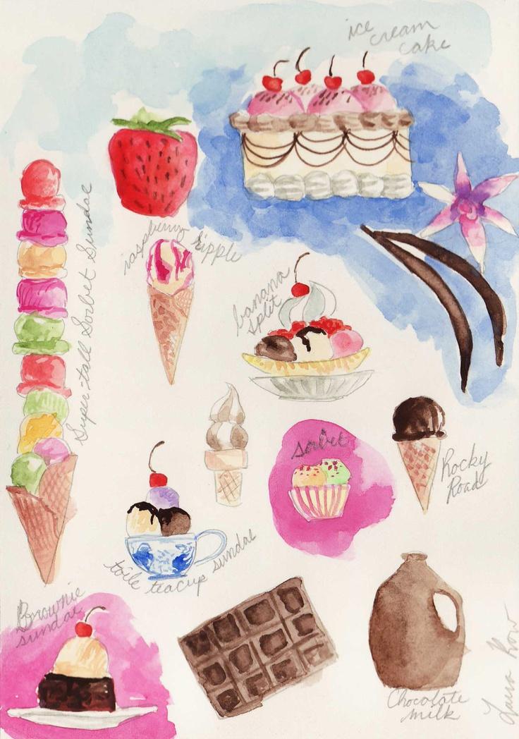 Ice Cream Delights Soda Shoppe  - ORIGINAL Watercolor Painting - Sundaes, Sorbets, Teacups, Scoops - 5 x 7. $15.00, via Etsy.