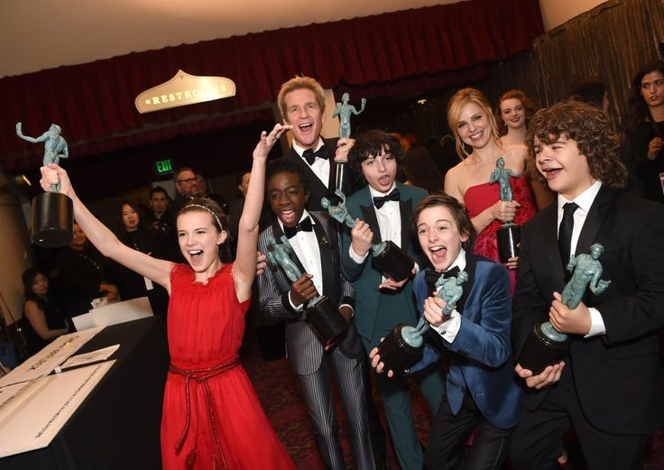 Pictured: Cara Buono, Matthew Modine, Gaten Matarazzo, Millie Bobby Brown, Caleb McLaughlin, Noah Schnapp, and Finn Wolfhard