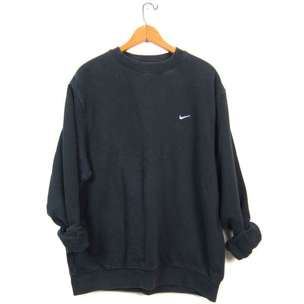 Vintage Black NIKE Sweatshirt Slouchy ATHLETICS Work Out Sports Sporty... ($30) ❤ liked on Polyvore featuring men's fashion, men's clothing, men's activewear y men's activewear tops